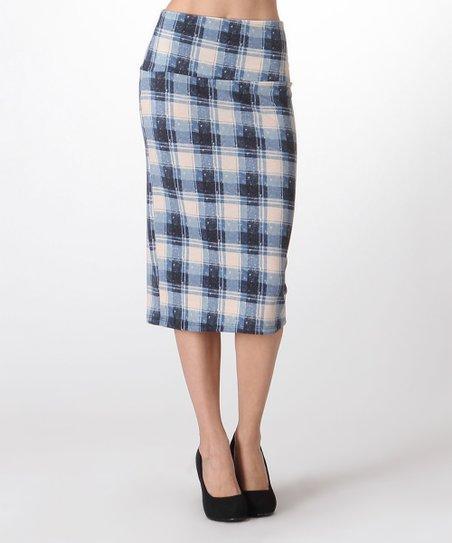 navy blue white plaid pencil skirt plus