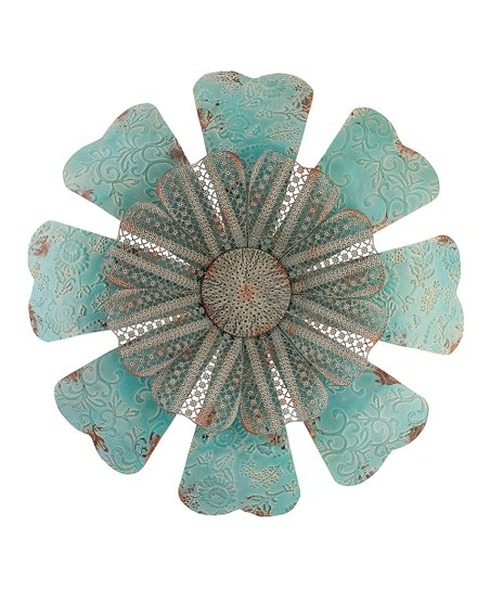 Zulily wall decor : Teal lace flower outdoor wall d?cor zulily
