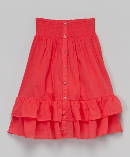 chillipop pink tuba shirred button maxi skirt toddler