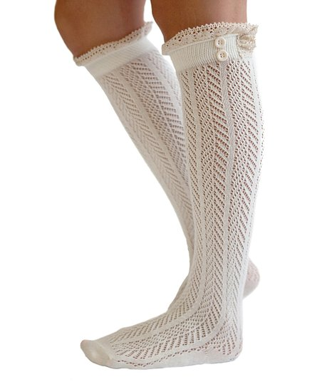 Ivory Crochet-Lace Knee-High Socks