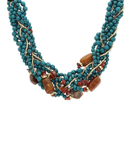 sparkling teal brown braided bead necklace zulily
