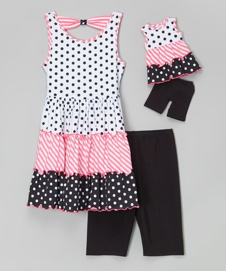 Black & Pink Polka Dot Tunic Set & Doll Outfit - Girls