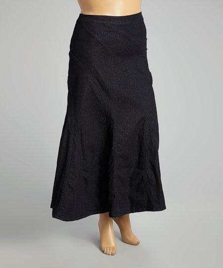 black denim maxi skirt plus