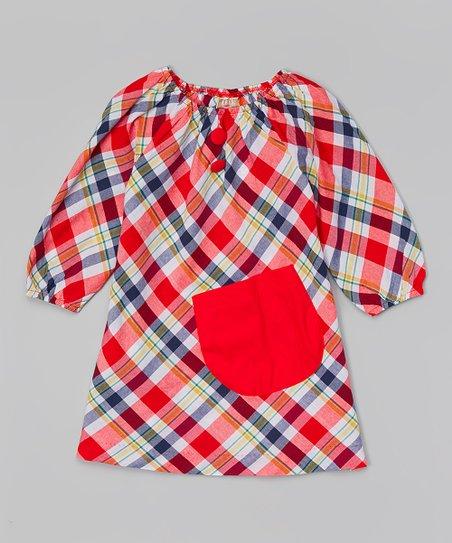 Red plaid pocket peasant dress toddler amp girls