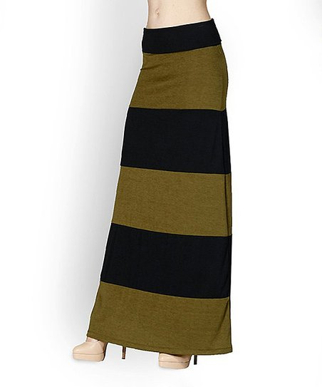 42pops olive black color block maxi skirt zulily
