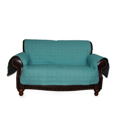 Turquoise Circle Quilted Water Repellent Couch Protector