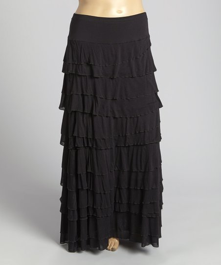 chelsea theodore black tiered maxi skirt plus zulily