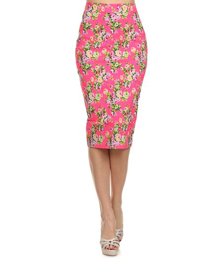 bellaberry usa pink floral pencil skirt zulily