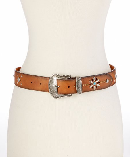 i accessories turquoise floral leather belt