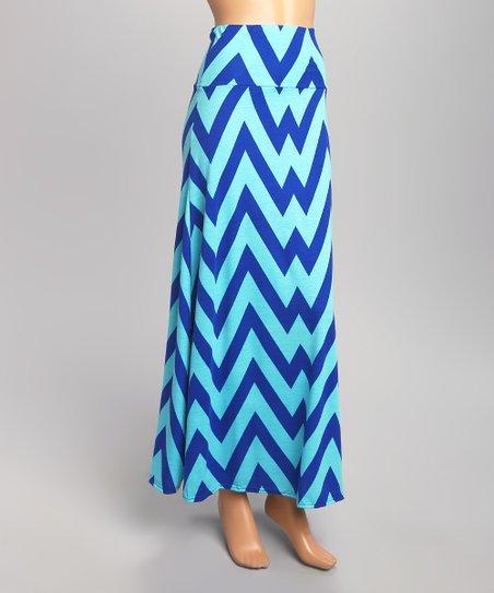 maze collection navy blue teal chevron maxi skirt zulily
