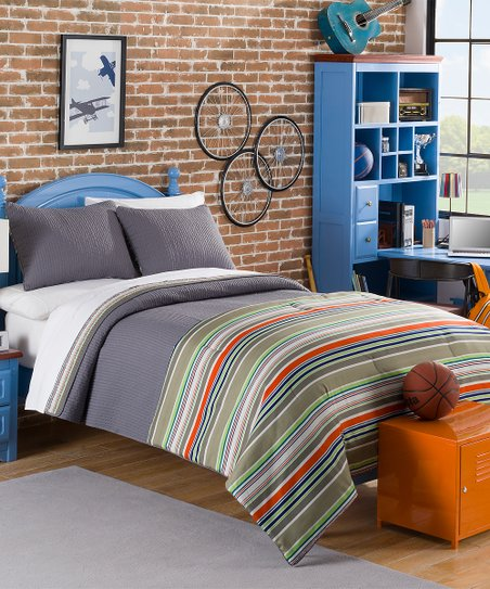 American home fashion gray orange stripe comforter - Orange and grey comforter ...