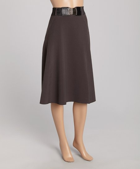 wearhouse usa gray belted a line skirt zulily