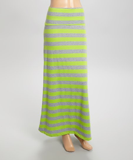 maze collection lime green gray stripe maxi skirt zulily