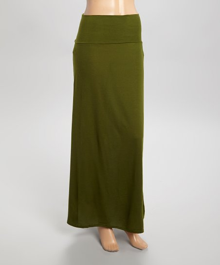 maze collection olive green maxi skirt zulily