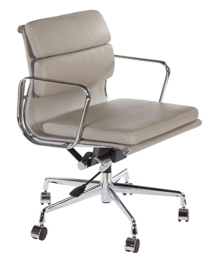 Control Brand Gray Mid Century Leather Executive Office Chair Zulily