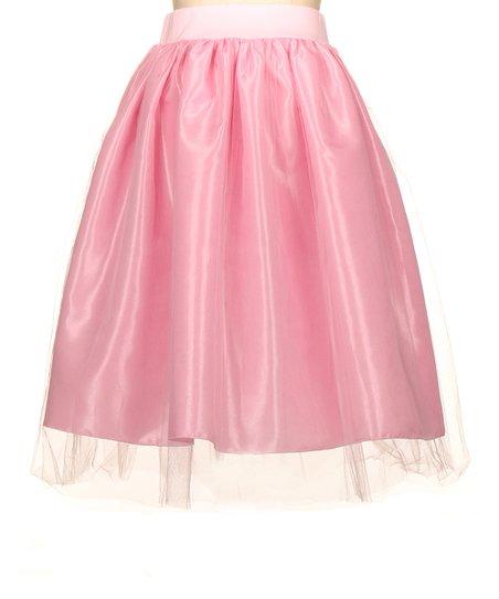 fashionomics light pink tulle overlay midi skirt zulily