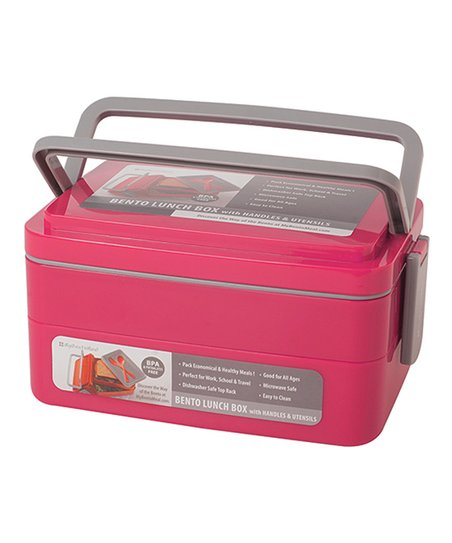 pink double stack bento handled lunch box utensil set. Black Bedroom Furniture Sets. Home Design Ideas