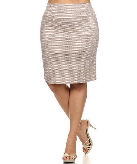 tropical wear khaki white stripe pencil skirt plus