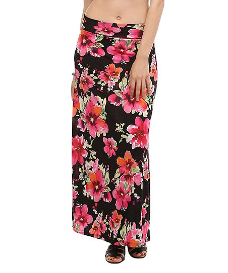 bold beautiful pink black floral maxi skirt zulily