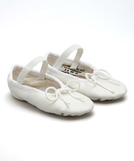 white leather ballet shoe