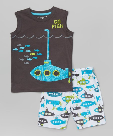 Kids Headquarters Gray Go Fish Tank & Blue Boardshorts - Infant & Boy...