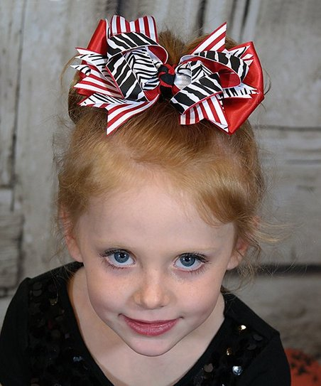 Red Zebra Hair Bows 64