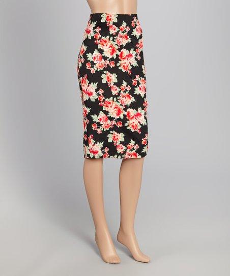 angele ricky black floral pencil skirt