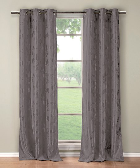 Duck River Textile Gray Blair Blackout Curtain Panel - Set of Two ...