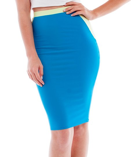 k turquoise color block pencil skirt zulily