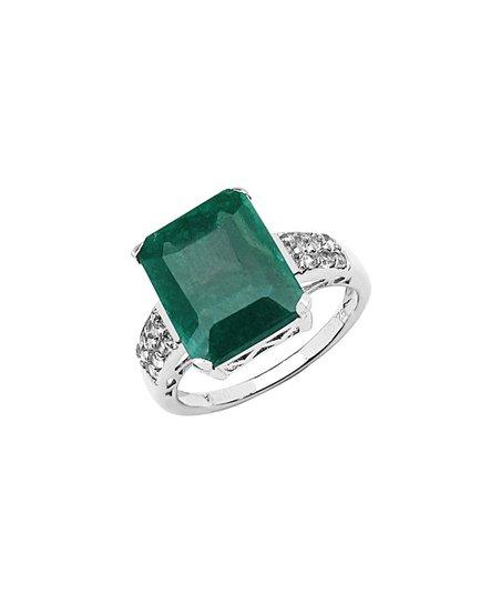 jewelzdirect emerald white topaz octagon ring zulily
