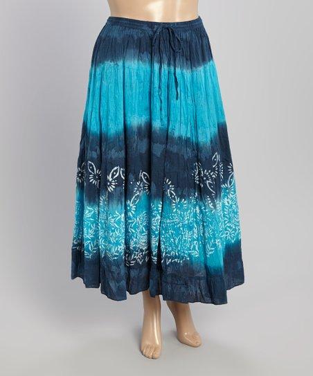 blue tie dye maxi skirt plus zulily