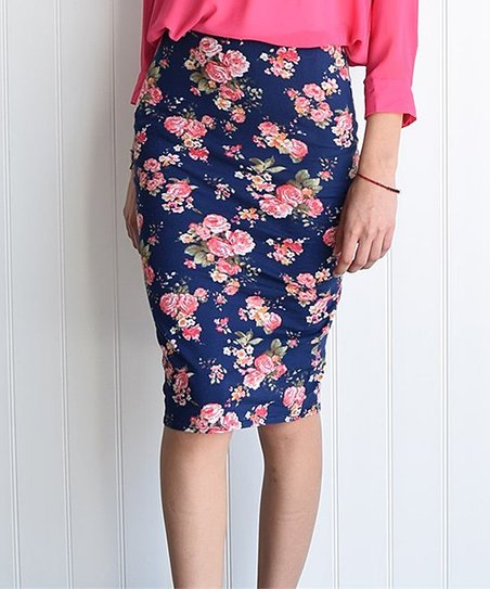 233 loges navy pink floral pencil skirt zulily