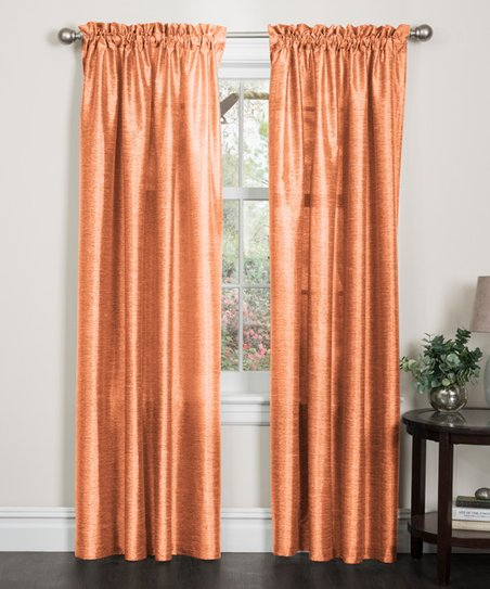 Orange Elise Two Tone Faux Silk Curtain Panel Set Of Two