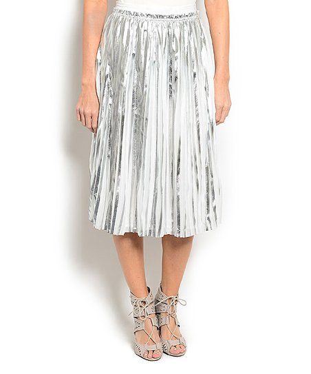 white silver pleated skirt zulily