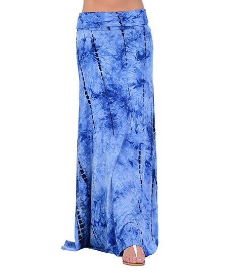 royal blue tie dye maxi skirt