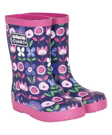 Blue floral rain boot