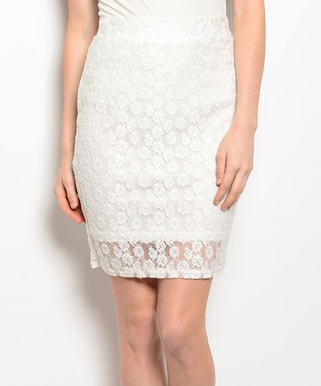 shop the trends white lace pencil skirt zulily