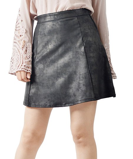 potters pot black faux leather a line skirt zulily