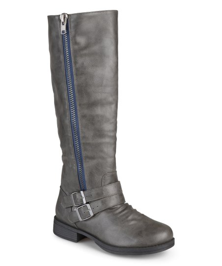 gray wide calf buckle boot