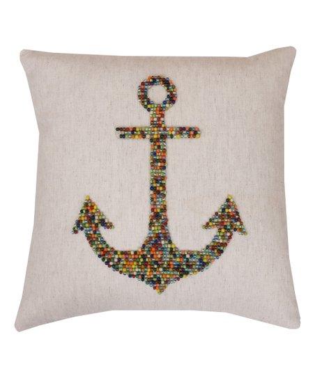 thro white anchor beaded throw pillow zulily