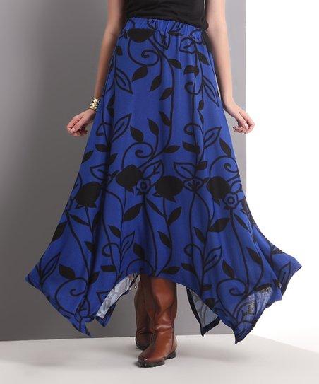 blue flower handkerchief maxi skirt