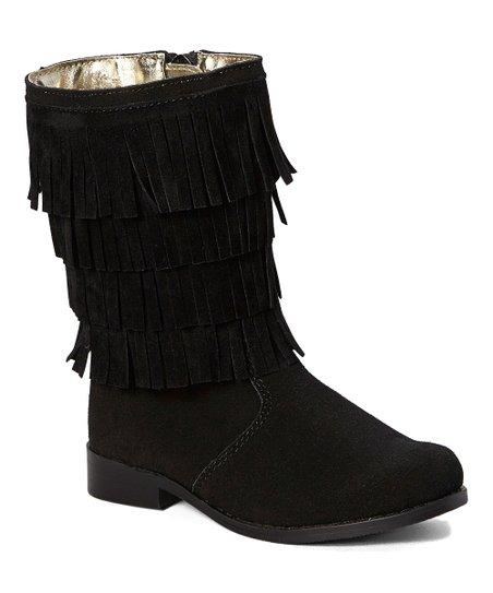 black fringe leather boot