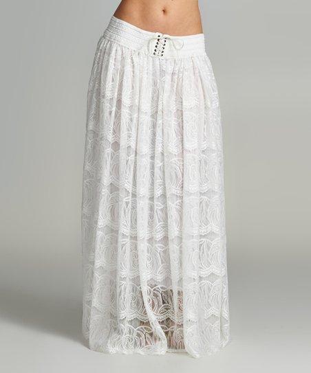 white lace tie waist maxi skirt