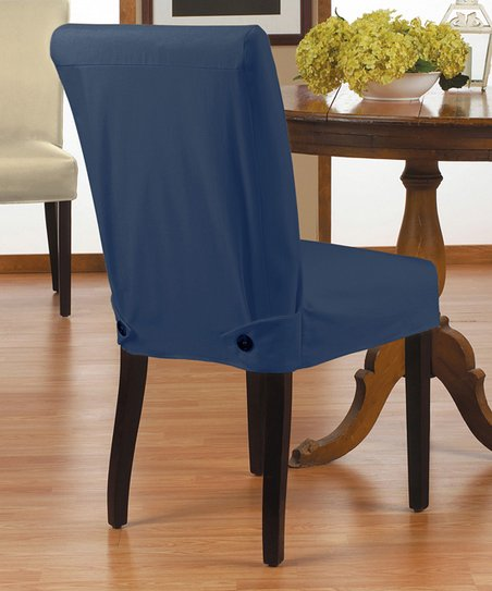 Caber SureFit Navy Twill Parsons Shorty Chair Cover