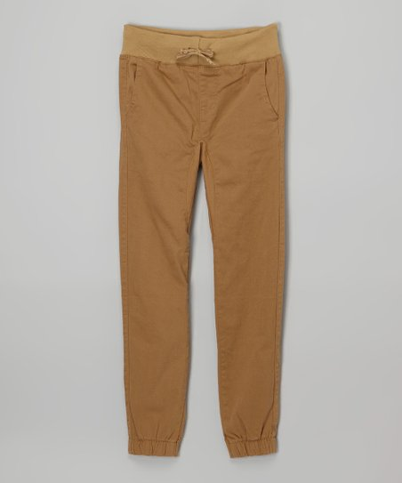 Unique Almost Famous Khaki Twill Jogger Pants