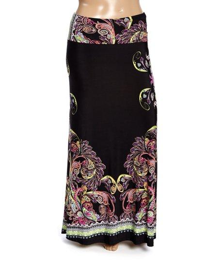 moa collection black lime green border maxi skirt plus
