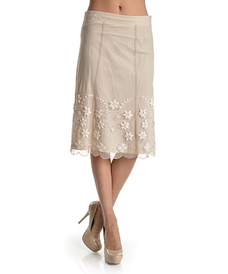 sweet sinammon beige embroidered overlay a line skirt zulily