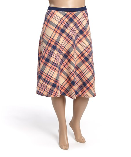 minx pink blue plaid a line skirt plus zulily