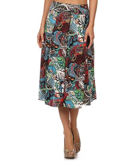 j mode usa los angeles blue paisley midi skirt zulily