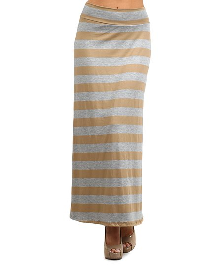 j mode usa los angeles khaki gray stripe maxi skirt zulily